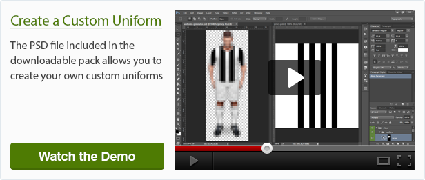 Creation of a custom uniform with the included PSD file