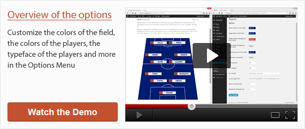Overview of the options of Soccer Formation VE